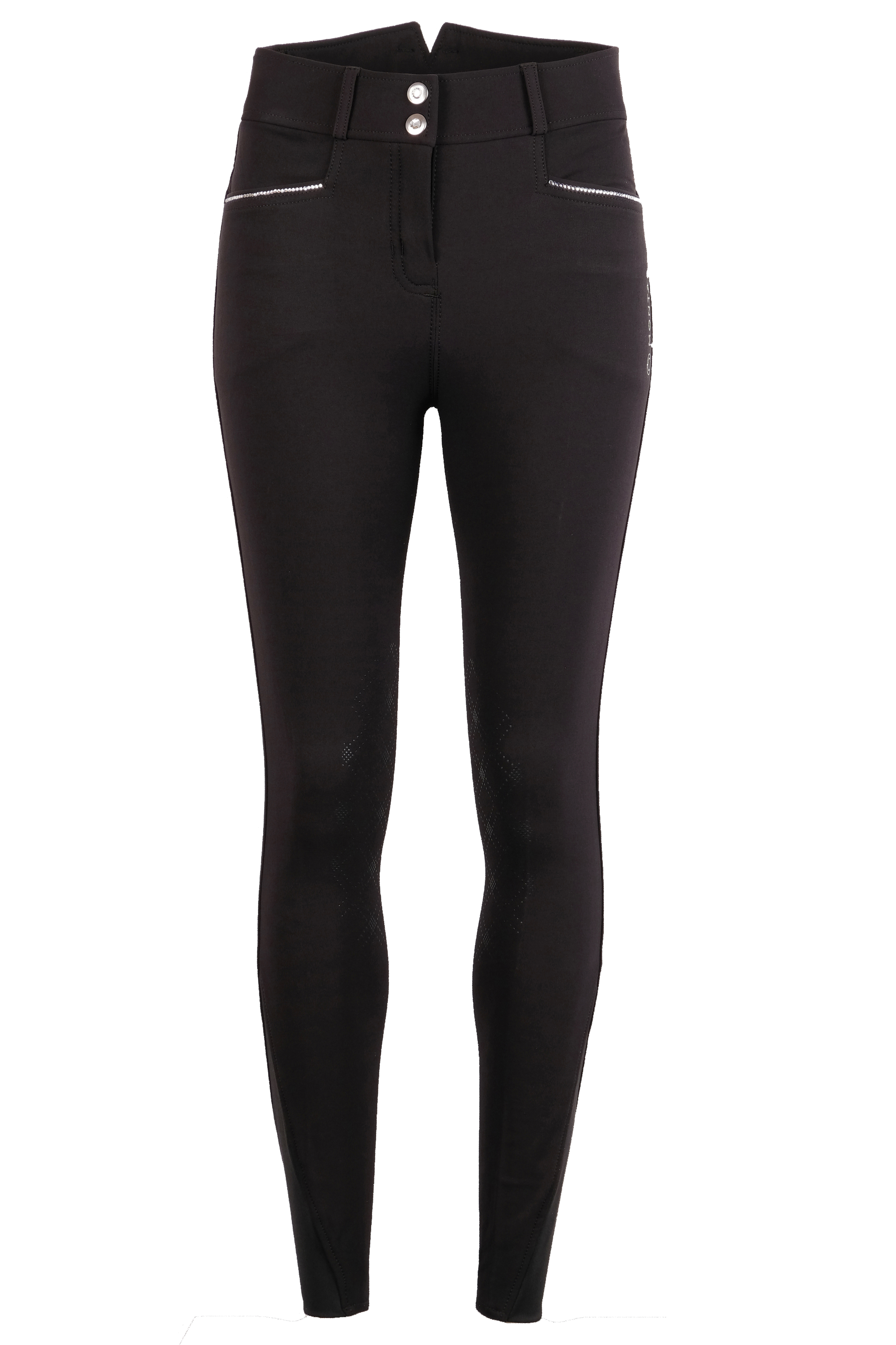 21110-41 Romy Crystal Lines Breeches Black Kneegrip Front.jpg