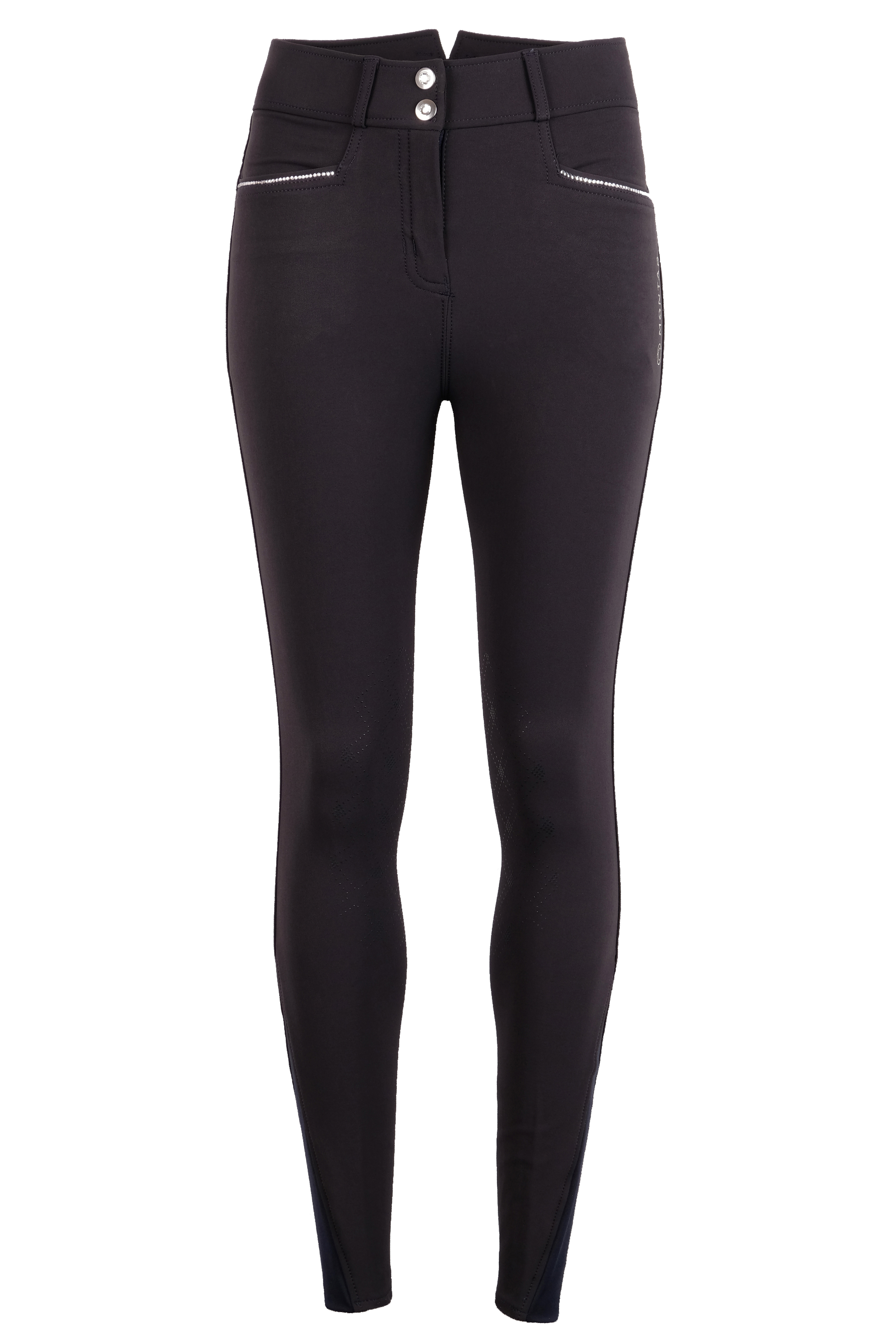 21110-71 Romy Crystal Lines Breeches Navy Kneegrip Front.jpg